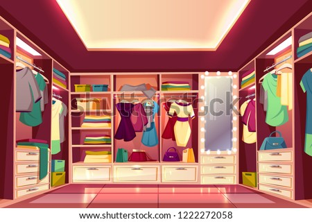 Spacious walk in closet or dressing room full of women clothes cartoon vector interior. Dresses hanging on hangers, bags and boxes with footwear on wardrobe shelves and illuminated mirror illustration