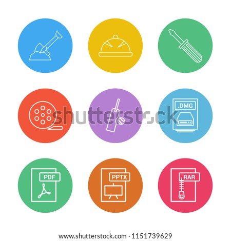 Spade  halmet  screw driver  movie roller  cricket  bat  ball  dmg apple file  rar  compressed file pdf  photoshop  pptx  excel  icon vector design  flat  collection style creative  icons