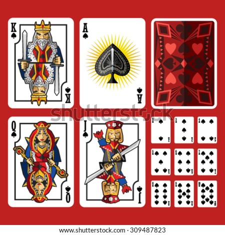 Spade Suit Playing Cards Full Set, include king queen jack and ace