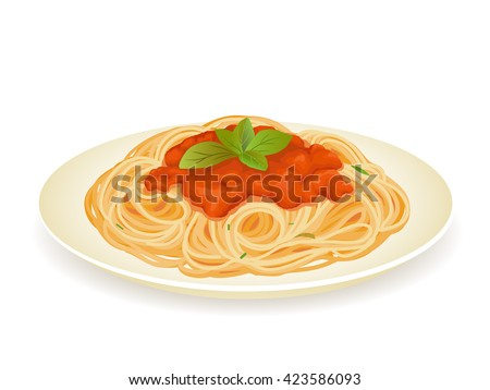 Spaghetti bolognese isolated on white vector illustration