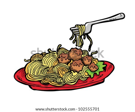 spaghetti in red plate - stock vector