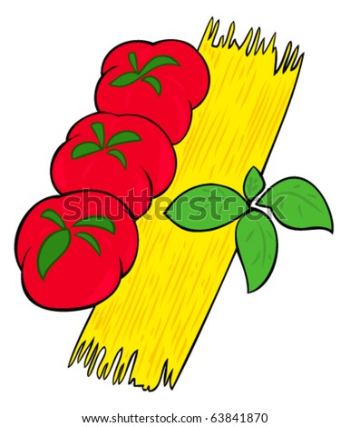Spaghetti, tomatoes and basil leaves.