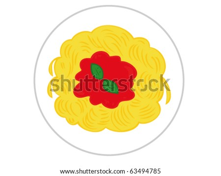 Spaghetti with tomato sauce. - stock vector