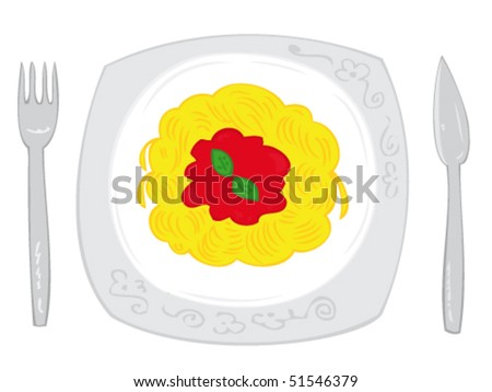 Spaghetti with tomato sauce and basil leaf on white dish with knife and fork.
