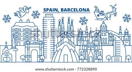 spain  barcelona winter city