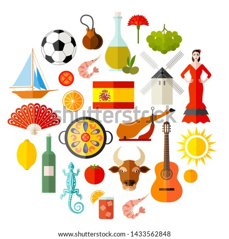Spain character set with flat style. Popular Spanish attributes and souvenirs. Vector illustration on the theme of traveling in Europe. Collection of themed icons.