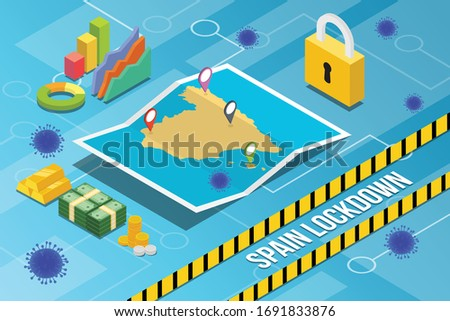spain country or nation lockdown for stop corona covid-19 spread with isometric modern style vector Stock fotó ©