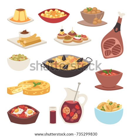 Spain cuisine vector food cookery traditional dish recipe spanish snack tapas crusty bread food gastronomy illustration on white background