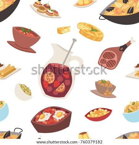 Spain cuisine vector food cookery traditional dish recipe. Spanish snack tapas crusty bread food gastronomy. illustration seamless pattern background