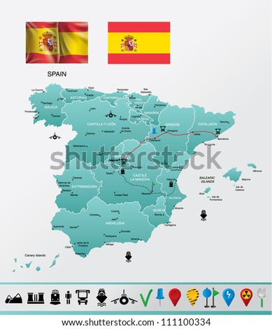 Spain detailed map, with navigation icons EPS 10 file format, flag-gradient mesh.