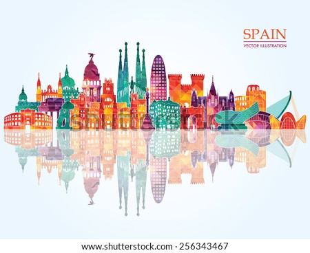 spain detailed skyline vector