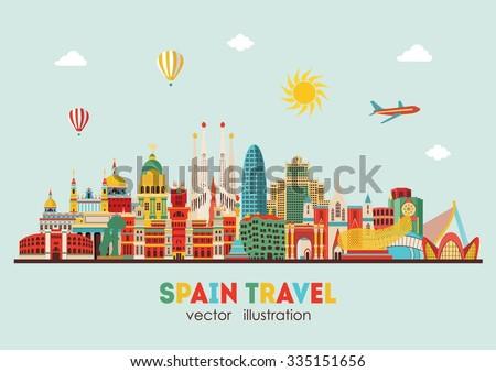spain detailed skyline vector