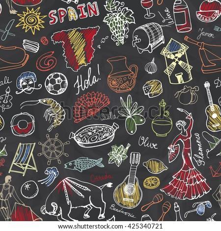 spain doodles seamless pattern