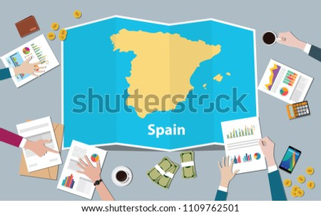 spain economy country growth nation team discuss with fold maps view from top vector illustration Stock fotó ©