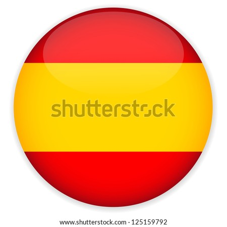 spain flag glossy button vector