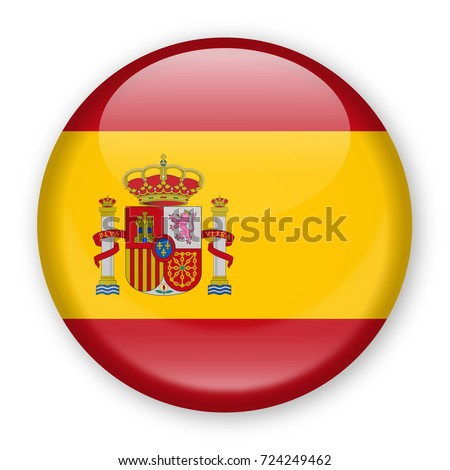 Spain Flag Vector Round Icon - Illustration