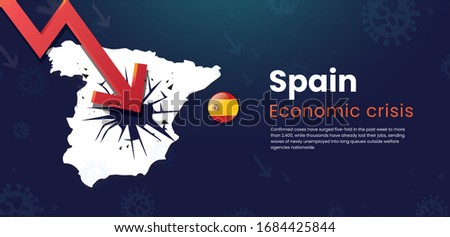 Spain Global Economic Crisis Low interest rate with recession in stock market financial investment decline in the dollar Stock fotó ©