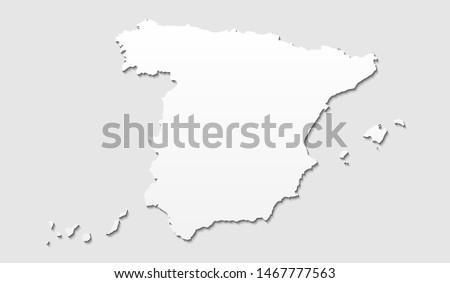 Spain Gray Papercut Map Vector