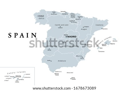 Spain, gray political map with administrative divisions. Kingdom of Spain with the capital Madrid, the autonomous communities, borders and capitals. English labeling. Illustration over white. Vector.