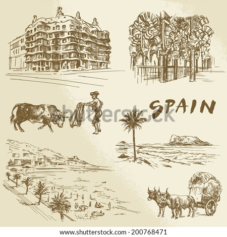 spain - hand drawn collection