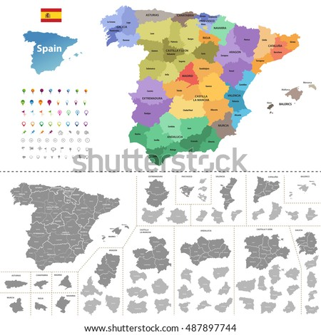 spain high detailed vector map