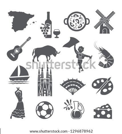 Spain icons set. Spanish traditional symbols and objects on white.