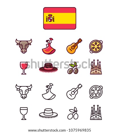 Spain icons set. Traditional Spanish signs and symbols. 2 styles, colored cartoon line icons and black outlines.