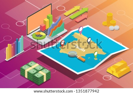 spain isometric business economy growth country with map and finance condition - vector Stock fotó ©