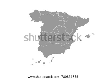 spain map. High detailed map of spain on white background. Vector illustration eps 10.