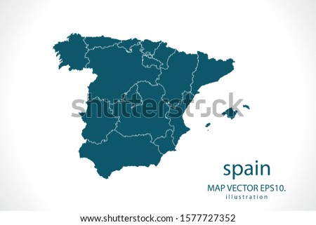 spain map High Detailed on white background. Abstract design vector illustration eps 10