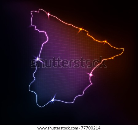 Spain map, stylized glowing vector illustration