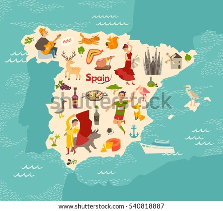 spain map vector illustrated
