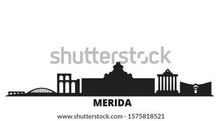 Spain, Merida city skyline isolated vector illustration. Spain, Merida travel black cityscape