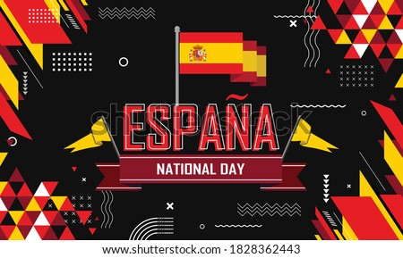 Spain national day banner for España , Espana or Espania with abstract retro modern geometric design. Flag of spain with typography & red yellow color theme. Foto stock ©