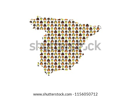 Spain outline map with people texture
