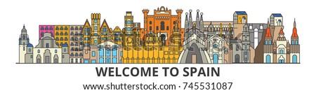 spain outline skyline  spanish