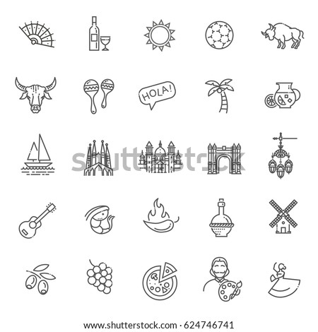 spain outlined icon set