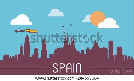 spain skyline silhouette flat