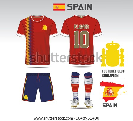 422a4509b Spain soccer jersey or team apparel template. Mock up Football uniform for  football club.