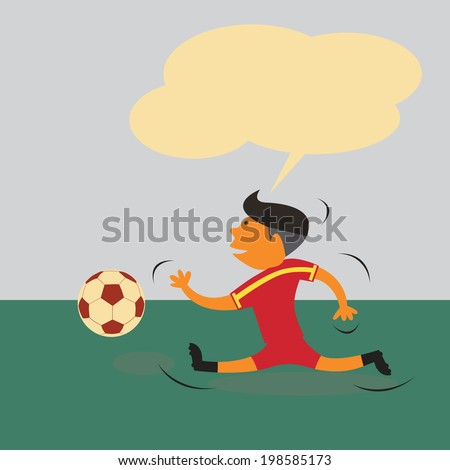 Spain soccer player running after ball with blank balloon above for fill some words