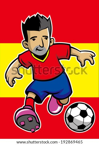 spain soccer player with flag