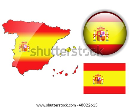 Spain, Spanish flag, map and glossy button, vector illustration set.