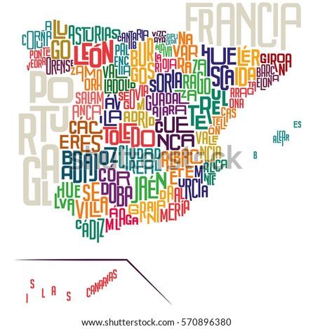 spain typographic map