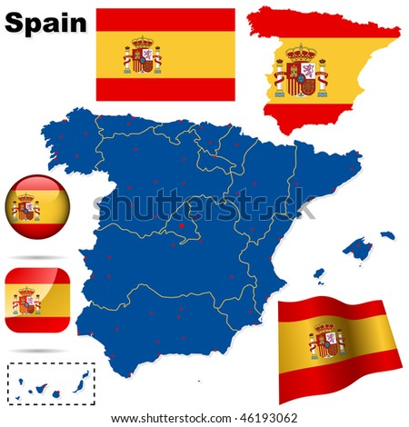 Spain vector set. Detailed country shape with region borders, flags and icons isolated on white background.