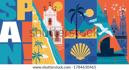 Spain vector skyline illustration, postcard. Travel to Spain modern flat graphic design banner with Spanish landmarks - Santiago de Compostela cathedral, beach