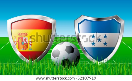 Spain versus Honduras abstract vector illustration isolated on white background. Shiny football shield of flag Spain versus Honduras