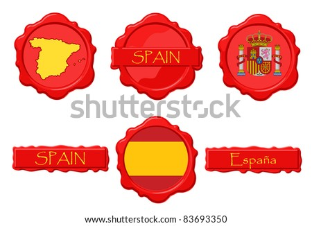 Spain wax stamps with flag, seal, map and name.