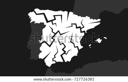 Spain with cracks - deterioration, decline, failure and decay of the Spanish country. Troubles and problems leading to breakup, disintegration and split of the state