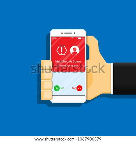 Spam call phone protection protect risk safety secure software spyware technology threat virus warning cell hang up incoming screen communication