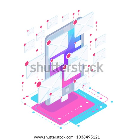 Spam. Isometric concept with a mobile phone full of new messages. Metaphor of aggressive advertising on the Internet and e-mail. Vector illustration.